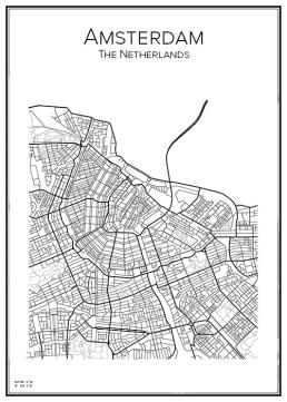 Stadskarta över Amsterdam