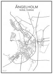 Stadskarta över Ängelholm