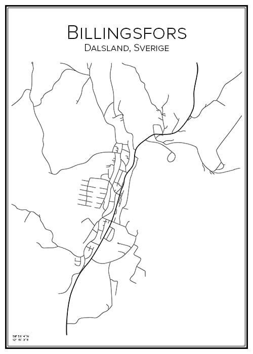 Stadskarta över Billingsfors