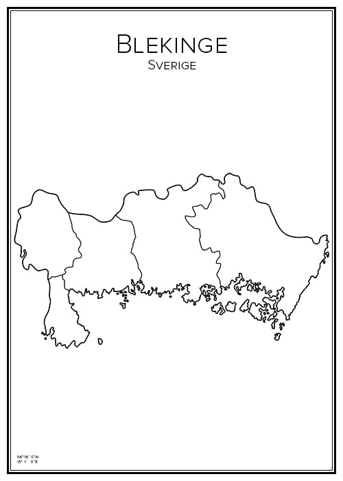 Stadskarta över Blekinge