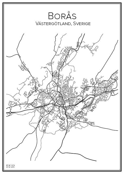 Stadskarta över Borås