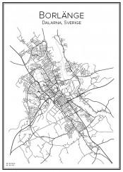 Stadskarta över Borlänge