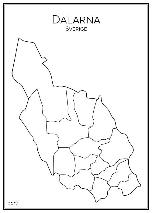 Stadskarta över Dalarna