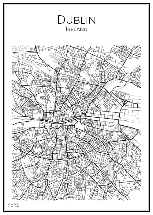 Stadskarta över Dublin