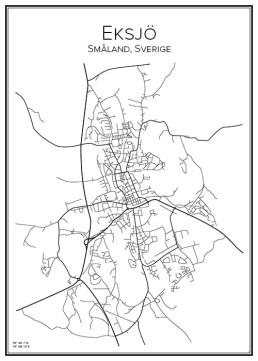 Stadskarta över Eksjö