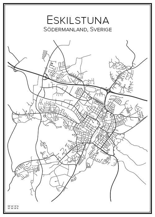Stadskarta över Eskilstuna