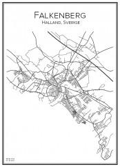 Stadskarta över Falkenberg