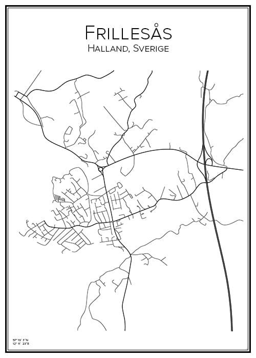 Stadskarta över Frillesås