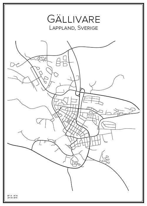 Stadskarta över Gällivare