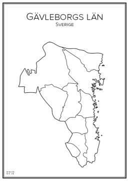 Stadskarta över Gävleborgs län