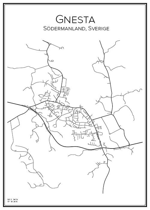 Stadskarta över Gnesta
