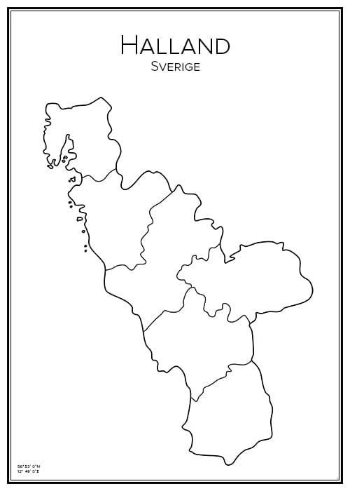 Stadskarta över Halland