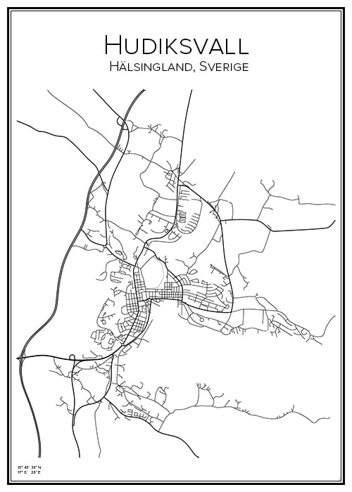 Stadskarta över Hudiksvall