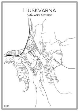 Stadskarta över Huskvarna
