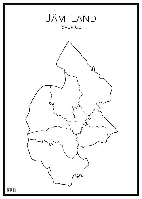 Stadskarta över Jämtland
