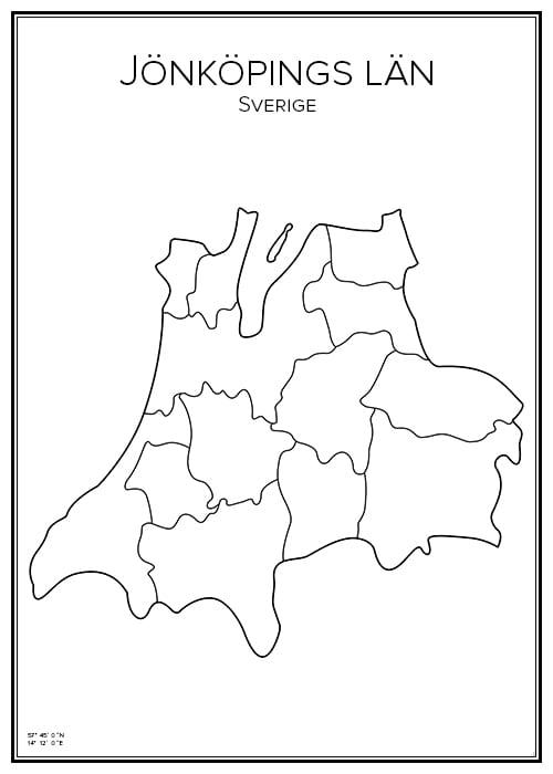 Stadskarta över Jönköpings län