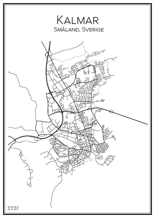 Stadskarta över Kalmar