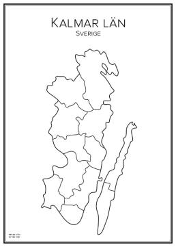 Stadskarta över Kalmar län