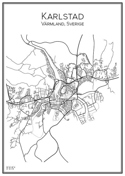 Stadskarta över Karlstad