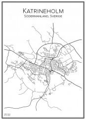 Stadskarta över Katrineholm