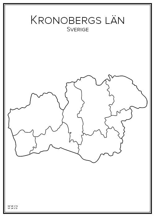 Stadskarta över Kronobergs län