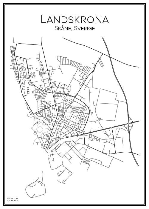 Stadskarta över Landskrona