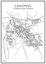 Stadskarta över Linköping