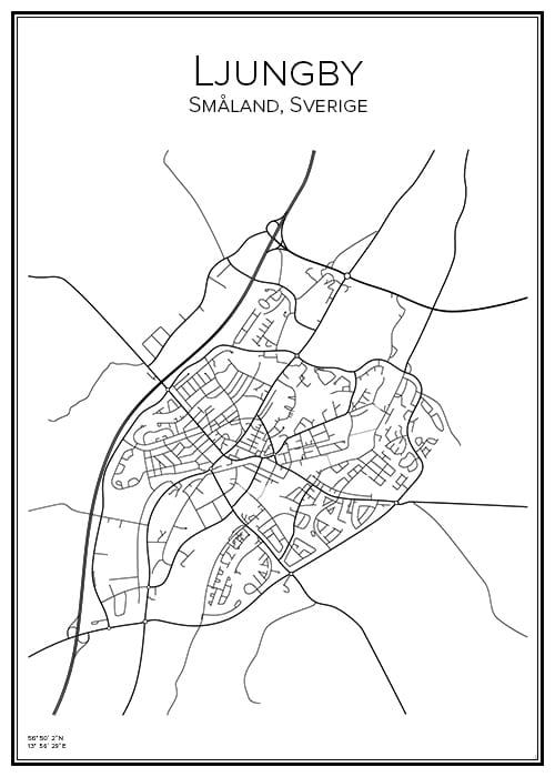 Stadskarta över Ljungby