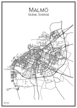 Stadskarta över Malmö