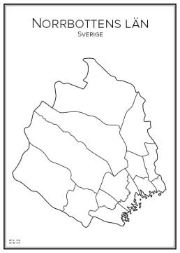 Stadskarta över Norrbottens län
