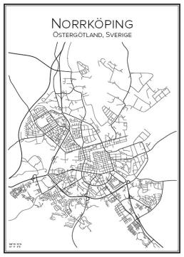 Stadskarta över Norrköping