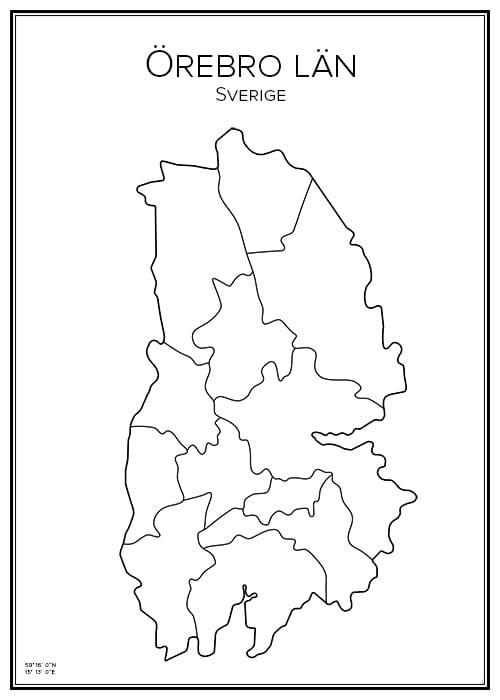 Stadskarta över Örebro län