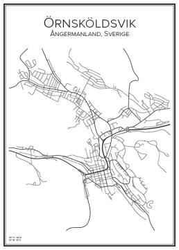 Stadskarta över Örnsköldsvik