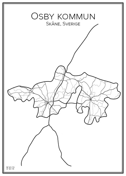 Stadskarta över Osby kommun