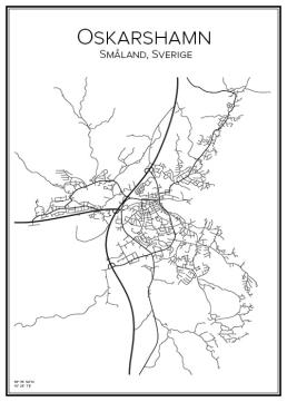 Stadskarta över Oskarshamn