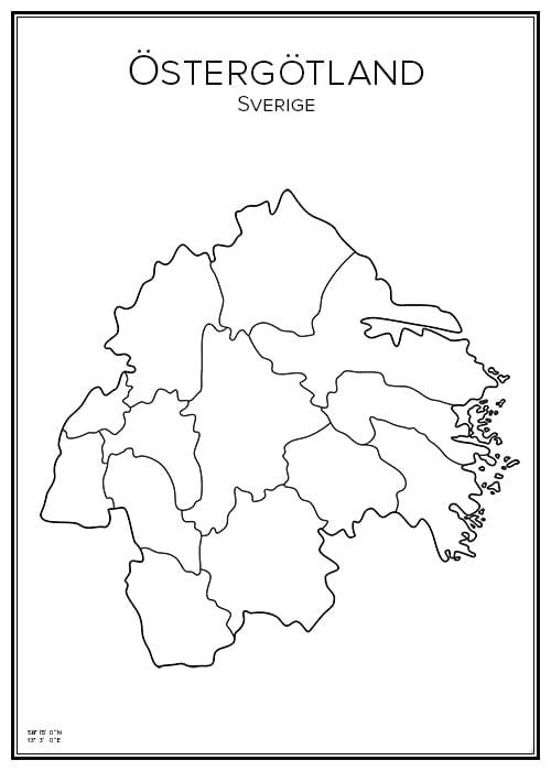 Stadskarta över Östergötlands län