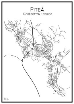 Stadskarta över Piteå