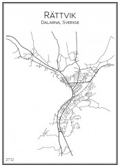 Stadskarta över Rättvik