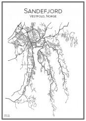 Stadskarta över Sandefjord
