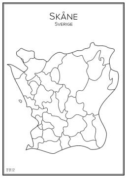 Stadskarta över Skåne