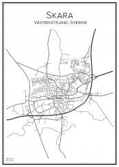Stadskarta över Skara