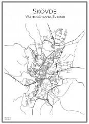 Stadskarta över Skövde