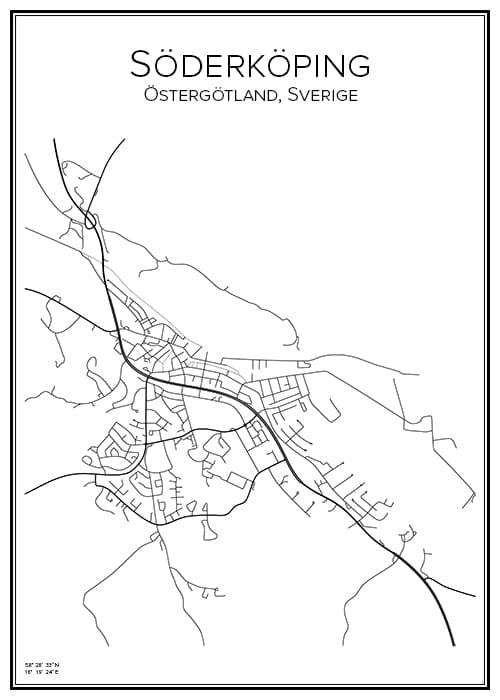 Stadskarta över Söderköping