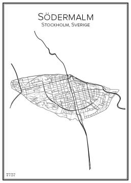 Stadskarta över Södermalm