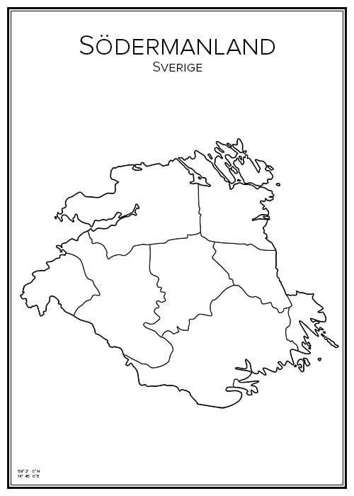 Stadskarta över Södermanlands län