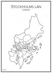 Stadskarta över Stockholms län