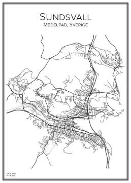 Stadskarta över Sundsvall