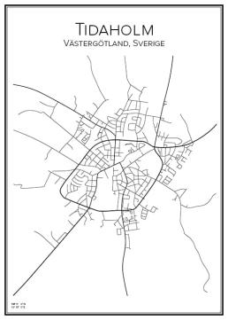 Stadskarta över Tidaholm