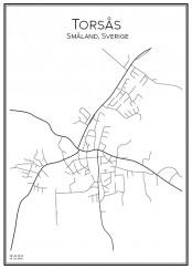 Stadskarta över Torsås