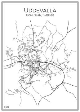 Stadskarta över Uddevalla